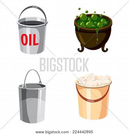 Cauldron icon set. Cartoon set of cauldron vector icons for web design isolated on white background