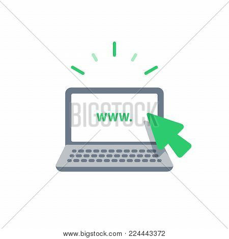 Online services, web design, new website promotion, e-commerce and marketing concept, internet provider, laptop cursor, vector icon