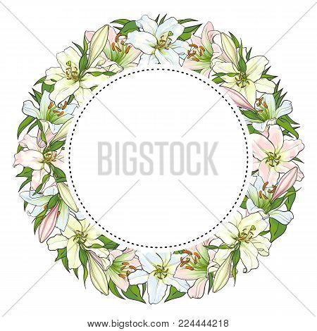 Vector sketch illustration circle frame template. White light pink tulips flower with closed opened blossom leaves pattern. Floral natural decoration background, backdrop element fabric textile design
