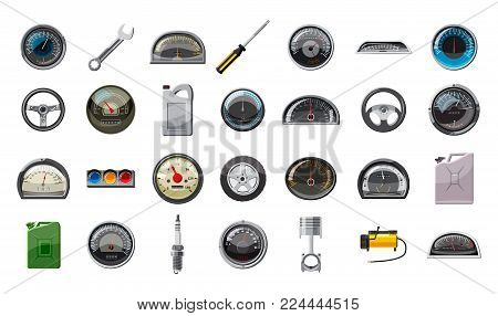 Car parts icon set. Cartoon set of car parts vector icons for web design isolated on white background
