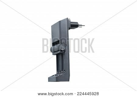Black charging for rechargeable finger batteries side view isolated on white background