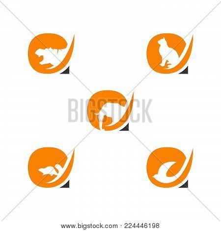 Letter A logo with animals negative space style design. Hypotamus, cat, squirrel, bird negative style logo vector.