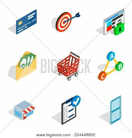 Informational progress icons set. Isometric set of 9 informational progress vector icons for web isolated on white background