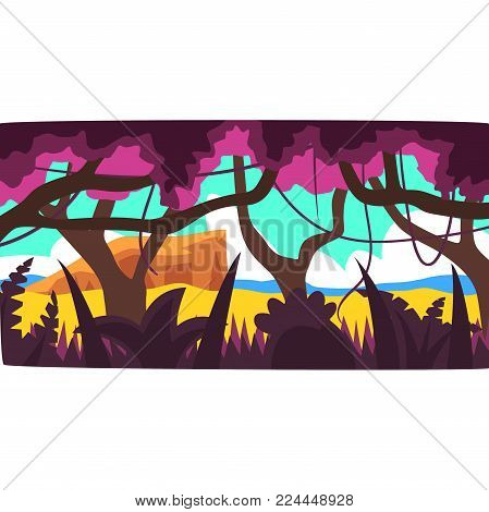 Tropical jungle, greenwood background with leaves, bushes and trees, tropical rainforest scenery in a day time vector illustration, forest backdrop