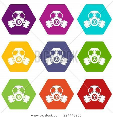 Chemical gas mask icon set many color hexahedron isolated on white vector illustration