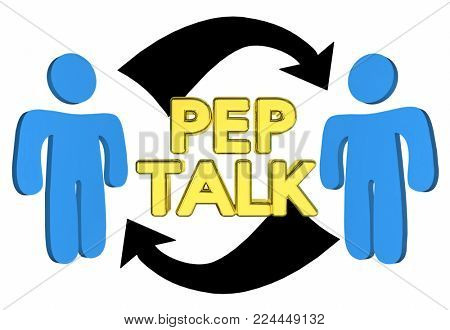 Pep Talk People Encourage Each Other 3d Illustration