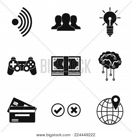 Computers progress icons set. Simple set of 9 computers progress vector icons for web isolated on white background