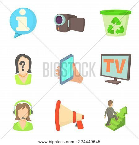 Progress of work icons set. Cartoon set of 9 progress of work vector icons for web isolated on white background