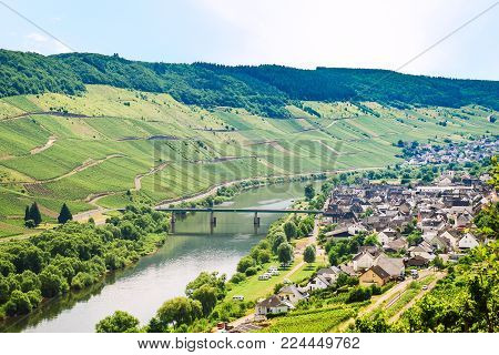 travel to Germany - small town in valley of Mosel river in Cochem - Zell region on Moselle wine route in sunny summer day