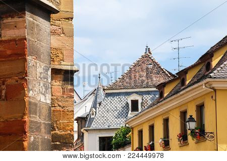 travel to france - old urban houses on street in Colmar city in summer day