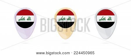 Map markers with flag of Iraq, 3 color versions.