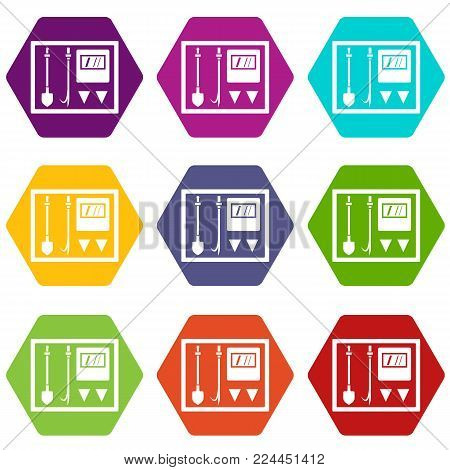 Fire shield icon set many color hexahedron isolated on white vector illustration