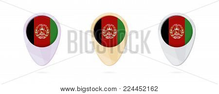 Map markers with flag of Afghanistan, 3 color versions.