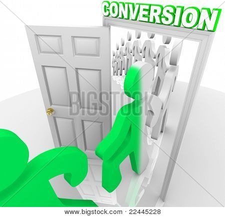 A line of people step through a doorway marked Conversion and are transformed from prospects into customers, symbolizing a successful sale