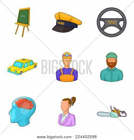 Working population icons set. Cartoon set of 9 working population vector icons for web isolated on white background