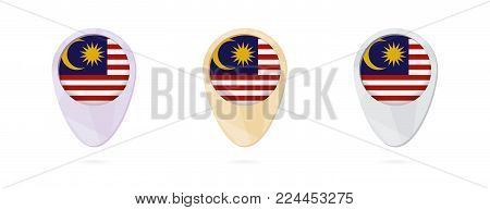 Map markers with flag of Malaysia, 3 color versions.