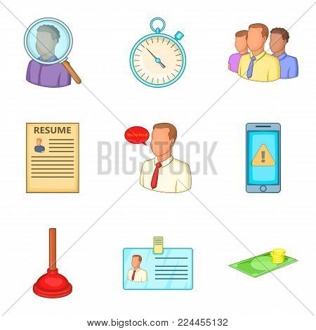 Service contract icons set. Cartoon set of 9 service contract vector icons for web isolated on white background