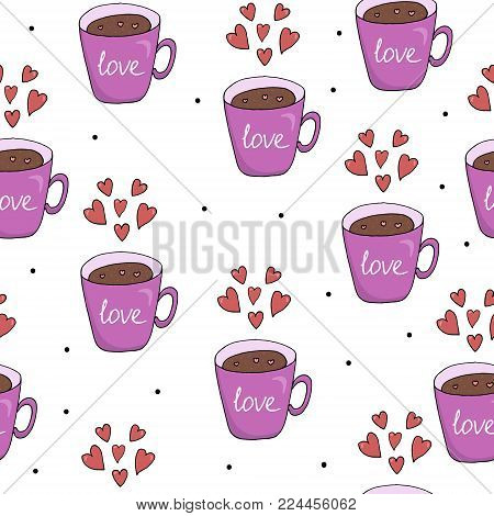 Valentine's day card. Cute hand drawn seamless pattern with cup