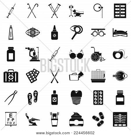 Medical accessories icons set. Simple set of 36 medical accessories vector icons for web isolated on white background