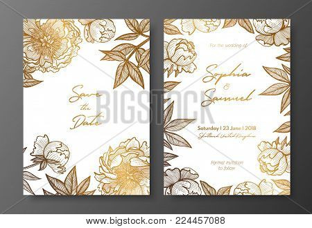 Gold wedding invitation with peonies. Gold cards templates for save the date, thank you card, wedding invites, menu, flyer, background, greeting cards, postcards