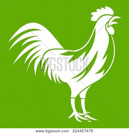 Gallic rooster icon white isolated on green background. Vector illustration