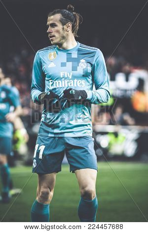VALENCIA, SPAIN - JANUARY 27: Bale during Spanish La Liga match between Valencia CF and Real Madrid at Mestalla Stadium on January 27, 2018 in Valencia, Spain