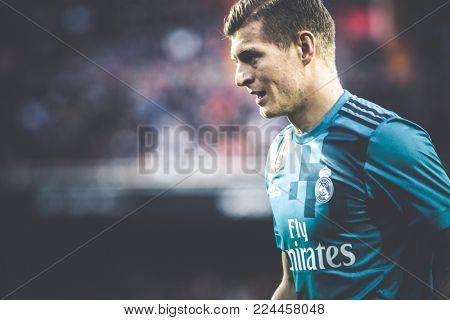 VALENCIA, SPAIN - JANUARY 27: Toni Kroos during Spanish La Liga match between Valencia CF and Real Madrid at Mestalla Stadium on January 27, 2018 in Valencia, Spain