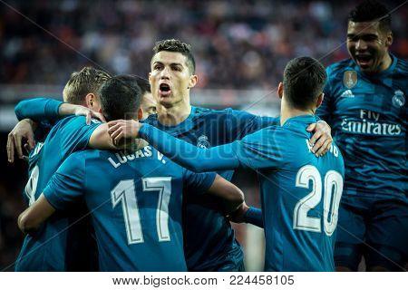 VALENCIA, SPAIN - JANUARY 27: Real Madrid players celebrate a goal during Spanish La Liga match between Valencia CF and Real Madrid at Mestalla Stadium on January 27, 2018 in Valencia, Spain