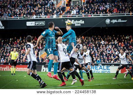VALENCIA, SPAIN - JANUARY 27: Corner kick during Spanish La Liga match between Valencia CF and Real Madrid at Mestalla Stadium on January 27, 2018 in Valencia, Spain