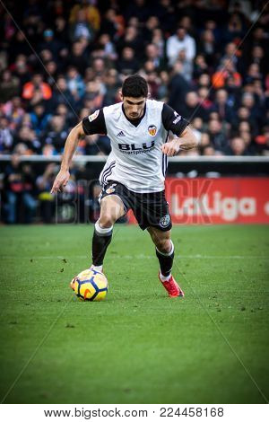 VALENCIA, SPAIN - JANUARY 27: Guedes during Spanish La Liga match between Valencia CF and Real Madrid at Mestalla Stadium on January 27, 2018 in Valencia, Spain