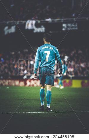 VALENCIA, SPAIN - JANUARY 27: Cristiano Ronaldo during Spanish La Liga match between Valencia CF and Real Madrid at Mestalla Stadium on January 27, 2018 in Valencia, Spain
