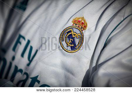VALENCIA, SPAIN - JANUARY 27: Real Madrid shield during Spanish La Liga match between Valencia CF and Real Madrid at Mestalla Stadium on January 27, 2018 in Valencia, Spain