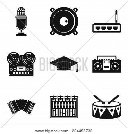 Karaoke icons set. Simple set of 9 karaoke vector icons for web isolated on white background