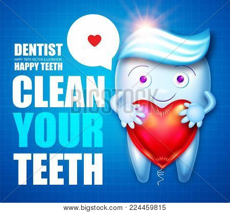 Healthy Tooth.Tooth with Toothpaste, Speech Bubble and Glossy Heart Balloon Flyer Template . Cartoon Character. Stomatology Design Template. Dental Health Concept. Oral Care. Vector illustration