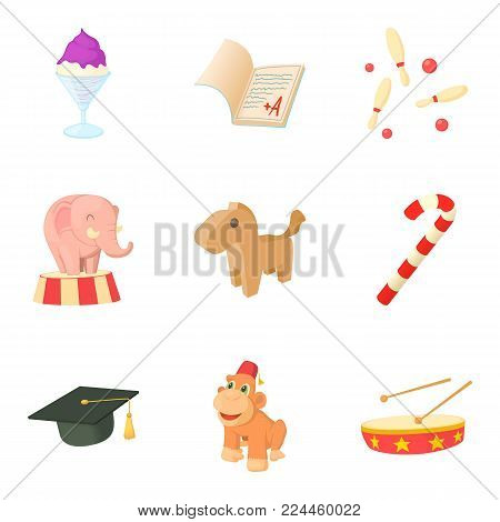 Young man icons set. Cartoon set of 9 young man vector icons for web isolated on white background