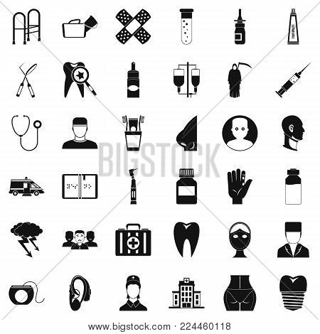 Pharmaceutical product icons set. Simple set of 36 pharmaceutical product vector icons for web isolated on white background