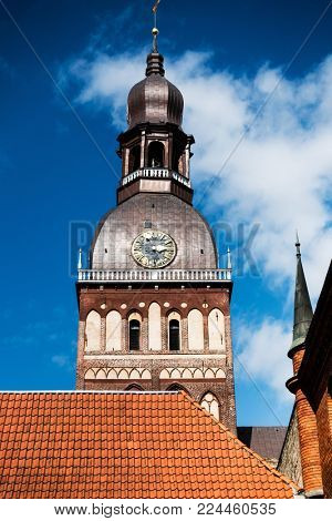 St.Peter's Church in Old Town Riga, Latvia