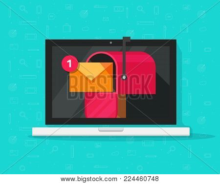 Computer with mailbox on screen vector illustration, flat cartoon design laptop pc display with mail box, concept of new e-mail received, letter or newsletter message, internet email delivery, inbox