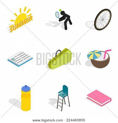 Stripling icons set. Isometric set of 9 stripling vector icons for web isolated on white background