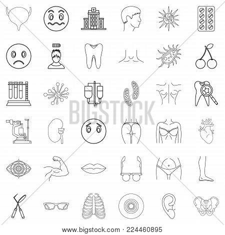 Medical pharmaceutical icons set. Outline set of 36 medical pharmaceutical vector icons for web isolated on white background