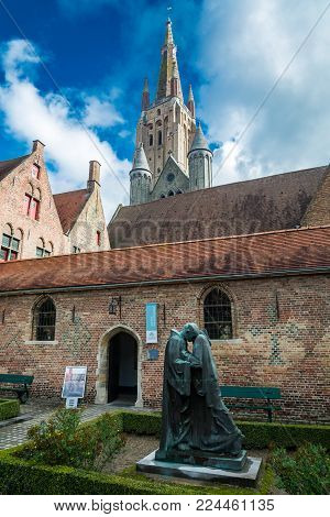 Bruges, Belgium - September 14, 2017: The Hospital of St. John (Oud Sint-Janshospitaal) was a medieval hospital in Bruges. It was founded in the mid-12th century.