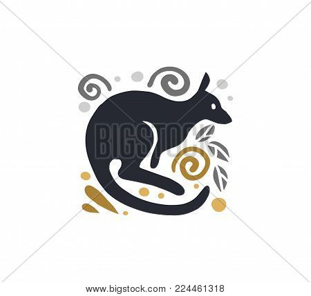 Vector flat cute funny hand drawn kangaroo animal silhouette isolated on white background.  Perfect for children goods store logo insignia, kid clothes and accessory prints, zoo logotype etc.