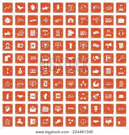 100 dialog icons set in grunge style orange color isolated on white background vector illustration