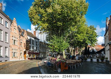 Bruges, Belgium - September 14, 2017: Bruges is the capital and largest city of the province of West Flanders. The historic city centre is a prominent World Heritage Site of UNESCO.