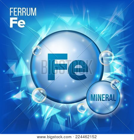 Fe Ferrum Vector. Mineral Blue Pill Icon. Vitamin Capsule Pill Icon. Substance For Beauty, Cosmetic, Heath Promo Ads Design. Mineral Complex With Chemical Formula. Illustration