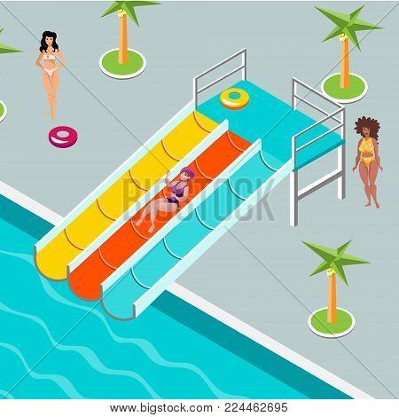 People at aqua park. vector illustration flat design