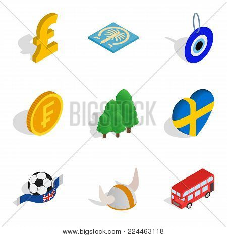 Empire icons set. Isometric set of 9 empire vector icons for web isolated on white background