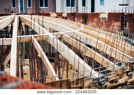 Details of roof system on monastery dome. Construction site, industrial wooden roof systems