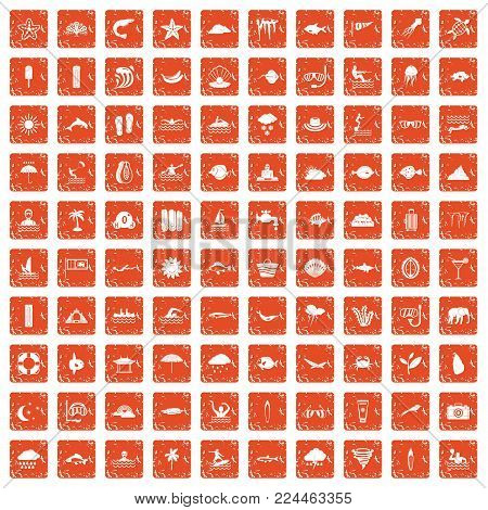 100 diving icons set in grunge style orange color isolated on white background vector illustration