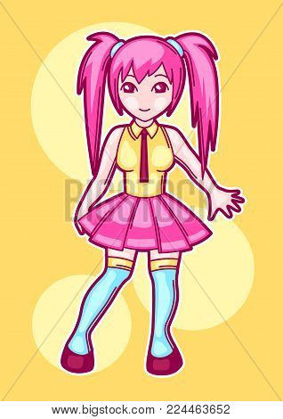 Japanese anime cosplay girl. Cute fashion character in fantasy costume.